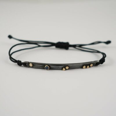 WELLEN BRILLIANT BLUE SAPPHIRE GOLD BLACK BRACELET